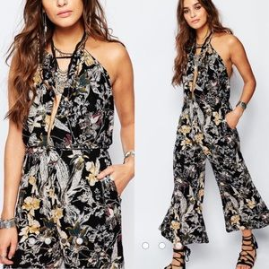 Free People floral backless jumpsuit